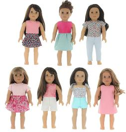 PZAS Toys 7 Outfit Set, Compatible with American Girl Doll C