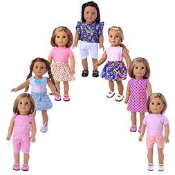 ZWSISU 7 Outfits American Girl Doll Clothes Fits American Gi