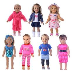 UUsave 7 Outfits Doll Clothes for American Girl Doll Dress S