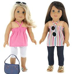 7 Pc. Casual Everyday Outfit Set Fits 18 Inch Doll Clothes I