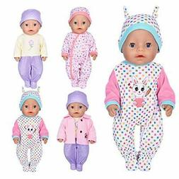 ebuddy 7 Pcs Doll Clothes with Hat and Coat for 18 inch Doll