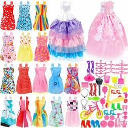 73PCS Barbie Doll Clothes Party Gown Shoes Bag Necklace Hang