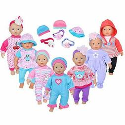 ebuddy 7sets Doll Playtime Outfits Clothes Hat Headband for