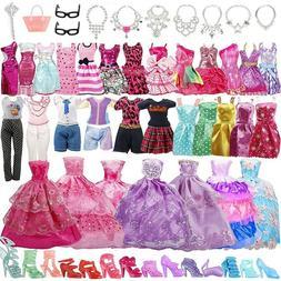 85pcs/Set Barbie Doll Dresses, Shoes and Jewellery Clothes A