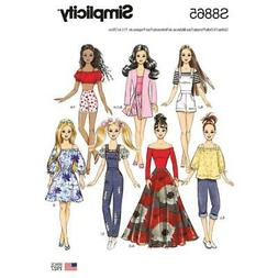 Simplicity 8865 Pattern New Barbie Doll 7 Outfits Dresses Pa