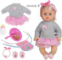 Huang Cheng Toys 9 Pcs 12 Inch Doll Baby With Clothes Lovely