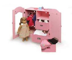 Badger Basket Mirrored Doll Armoire with 3 Baskets & 3 Hange