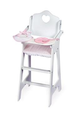 Badger Basket White Doll High Chair with Plate, Bib, and Spo