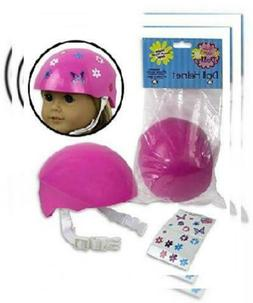 Doll Bike Helmet - Pink Bike Helmet with Easy Strap and Deco