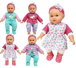 Doll with Clothes Set, Baby Doll with 4 Complete Outfits and