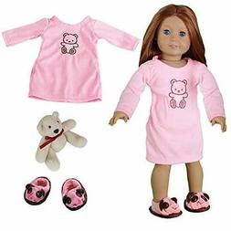 Dress Along Dolly 3Piece Doll Outfit with Pink Nightgown, Be