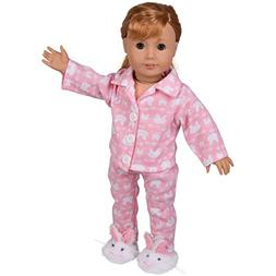 "Dress Along Dolly Bunny Doll Pajamas for 18"" Dolls: 3 Pcs Ou"