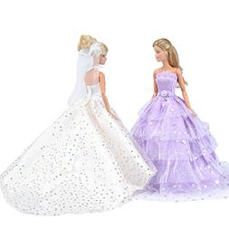 E-TING 2 pcs Beautiful Bride Clothing with Veil Party Ball D