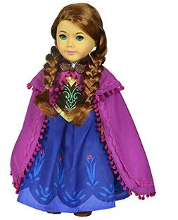 Ebuddy Snow Princess Dress Clothes Fits 18 inch Dolls Includ
