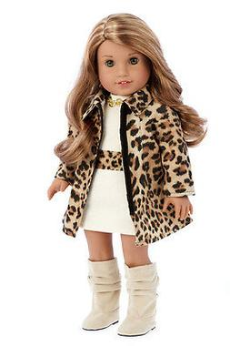 - Fashion Girl - 3 Piece Outfit - Cheetah Coat, Ivory Dress