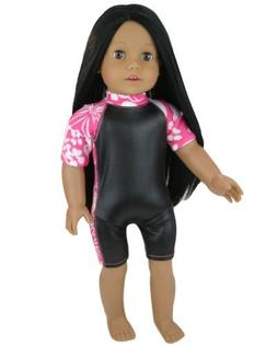Hawaiian Print and Black Doll Wet Suit Perfect for Doll Surf