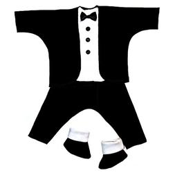 Jacqui's Baby Boys' Black and White Baby Tuxedo Suit, Preemi