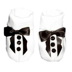 Jacqui's Baby Boys' White Tuxedo Crib Shoe with Black Lapels