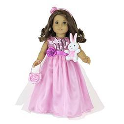 "MangoPeaches 18"" Doll Princess Dress: 5 PC Pink Dress - Incl"