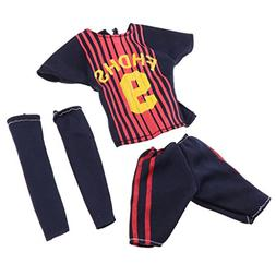 Prettyia 3 pieces Doll Garment Suit Soccer Uniform Outfit To