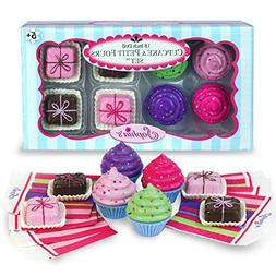 "Sophia's 18"" Doll Play Food Cupcakes, Petit Fours and Napkin"