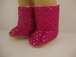 A Pair of Sequined Hot Pink Boots with Zippers in the Back O