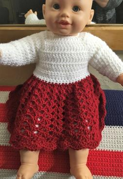 Acrylic Handmade Crochet L/S Dress PREEMIE to 7 lbs. or 20 i
