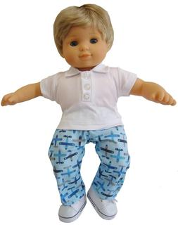 Airplane 3 Piece Outfit for Bitty Baby Boy Dolls by Doll Clo
