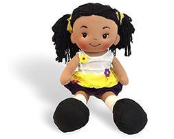 Linzy Toys Aissa Handmade Fabric Rag Doll with Yellow Dress
