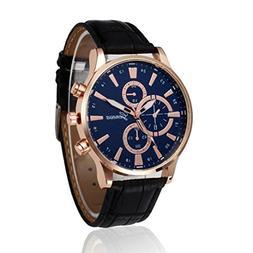 Han Shi Alloy Quartz Wristwatch Retro Leather Steel Casual A