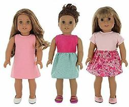 PZAS Toys 18 Inch Doll Clothes - 3 Dress Pack of 18 Doll Clo