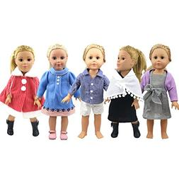 AOFUL American Girl Doll Clothes 5 Complete Outfits Set For