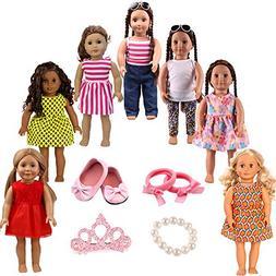 7pcs Doll Clothes 1Shoes 1Bracelet 1Crown hair clip 1Hair ri