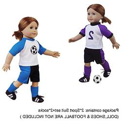 American Girl Doll Sports Clothes - 6 PCS Sporty Soccer Kit