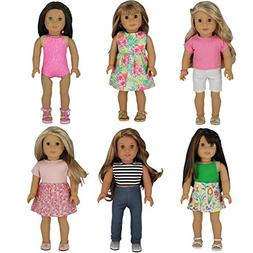 PZAS Toys 6 Outfit Set, Compatible with American Girl Doll C