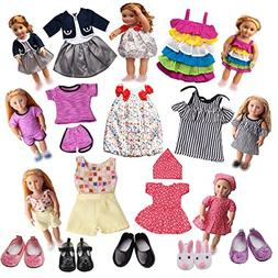 LFORBB American Girl Doll Clothes, 7 Clothes and 5 Shoes, Ac