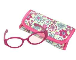 18 Inch American Girl Doll Pink glasses + Case for Pink Doll