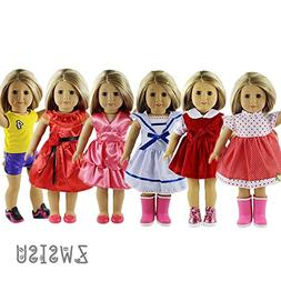 ZWSISU 6 pc American girl doll clothes for 18 inch A