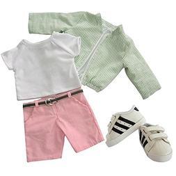 American Boy Doll Clothes Set,5 Piece Set- Green Stripe Jack