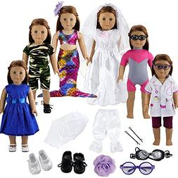 BARWA 12 Pieces Doll Clothes and Accessories Fashion Summer