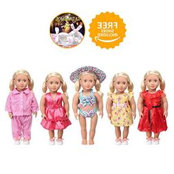 GOPOWD 18 Inch American Girl Doll Clothes Wardrobe Makeover