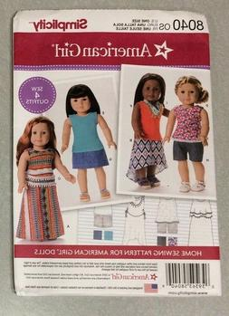 Simplicity Creative Patterns US8040OS American Girl Doll Clo