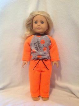 """American Girl doll 18"""" orange basketball pajamas pjs boy pan"""