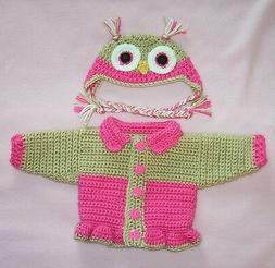 American Girl Doll Clothes HPink Owl Sweater Hat Fits Bitty