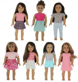 PZAS Toys American Girl Doll Clothes Wardrobe - 7 Outfits, F