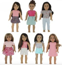PZAS Toys - American Girl Doll Clothes Wardrobe - 7 Outfits,