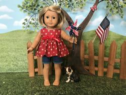 American Girl fitting 4th of July short set, 18 inch doll cl