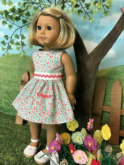 American Girl fitting spring/summer dress, 18 inch doll clot