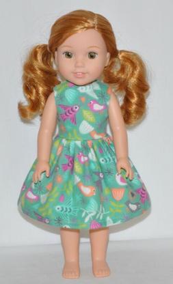 Aqua Green Bird Doll Dress Clothes Fits American Girl Wellie