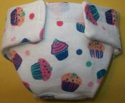 BABY DOLL CLOTH DIAPERS SMALL BIRTHDAY CUPCAKES   FIT SOME B